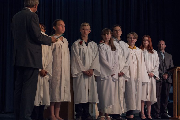 Confirmation students during rite of confirmation